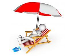 3d Man On Beach Chair And Umbrella Stock Photo