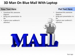 3D Man On Blue Mail With Laptop Ppt Graphics Icons Powerpoint