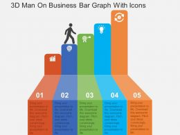 3D Man On Business Bar Graph With Icons Flat Powerpoint Design