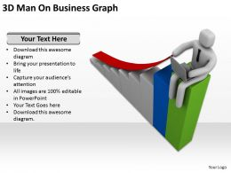 3D Man On Business Graph Ppt Graphics Icons Powerpoint