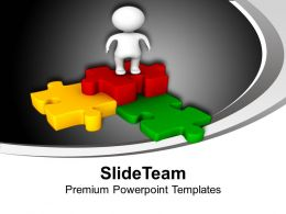 3d Man On Colorful Puzzle Pieces PowerPoint Templates PPT Themes And Graphics 0113