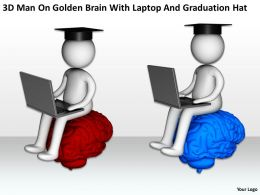 3D Man On Golden Brain With Laptop And Graduation Hat Ppt Graphics Icons