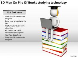 3D Man On Pile Of Books studying technology Ppt Graphics Icons
