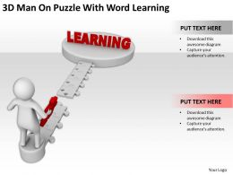 3D Man On Puzzle With Word Learning Ppt Graphics Icons Powerpoint