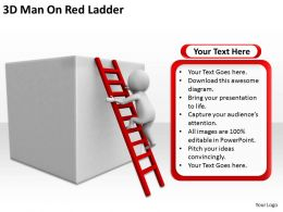 3D Man On Red Ladder Ppt Graphics Icons Powerpoint
