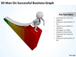 3D Man On Successful Business Graph Ppt Graphic Icon