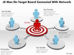 3d Man On Target Board Connected With Network Powerpoint Template