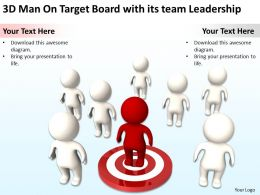 3D Man On Target Board with its team Leadership Ppt Graphics Icons