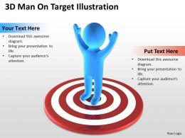 3D Man On Target Illustration Ppt Graphics Icons