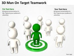 3D Man On Target Teamwork Ppt Graphics Icons