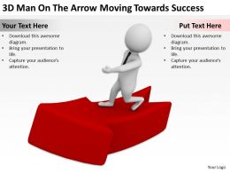 3D Man On The Arrow Moving Towards Success Ppt Graphics Icons