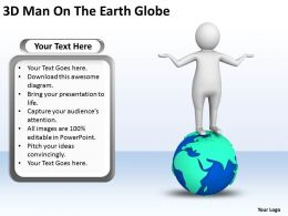 3D Man On The Earth Globe Ppt Graphics Icons Powerpoint