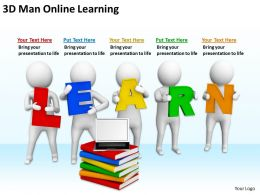 3D Man Online Learning Ppt Graphics Icons Powerpoint