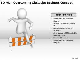 3D Man Overcoming Obstacles Business Concept Ppt Graphics Icons Powerpoin