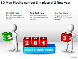 3D Man Placing number 3 in place of 2 New year Ppt Graphics Icons