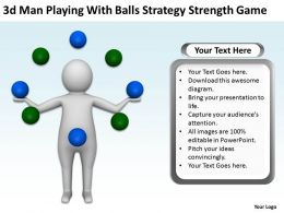 3d Man playing with balls Strategy strength game Ppt Graphics Icons