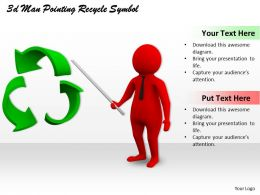3d Man Pointing Recycle Symbol Ppt Graphics Icons Powerpoint