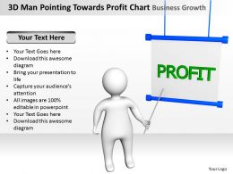 3D Man Pointing Towards Profit Chart Business Growth Ppt Graphics Icons