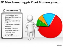 3D Man Presenting pie Chart Business growth Ppt Graphic Icon