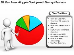 3D Man Presenting pie Chart growth Strategy Business Ppt Graphics Icons