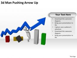 3d Man Pushing Arrow Up Ppt Graphics Icons Powerpoint