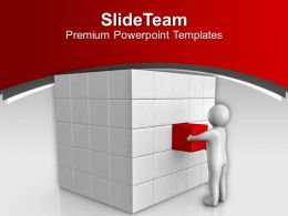 3d Man Pushing Cube In Place Solution PowerPoint Templates PPT Themes And Graphics 0213