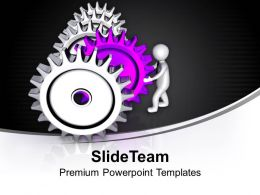 3d Man Pushing Gear Leadership PowerPoint Templates PPT Themes And Graphics 0213