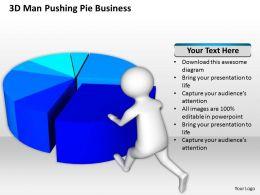 3D Man Pushing Pie Business Ppt Graphics Icons Powerpoint