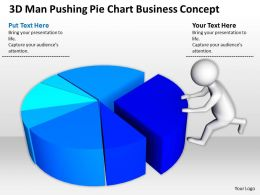 3D Man Pushing Pie Chart Business Concept Ppt Graphics Icons Powerpoint