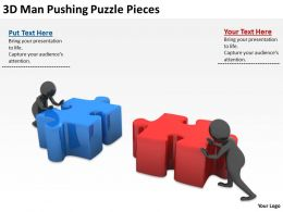 3D Man Pushing Puzzle Pieces Ppt Graphics Icons Powerpoint
