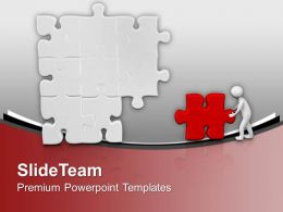 3d Man Pushing Puzzle To Business Solution PowerPoint Templates PPT Themes And Graphics 0213