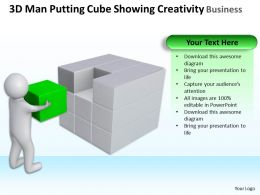 3D Man Putting Cube Showing Creativity Business Ppt Graphics Icons