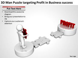 3D Man Puzzle targeting Profit in Business success Ppt Graphics Icons