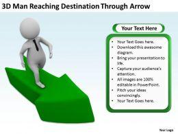 3D Man Reaching Destination Through Arrow Ppt Graphics Icons