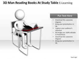 3D Man Reading Books At Study Table E Learning Ppt Graphics Icons