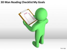 3D Man Reading Checklist My Goals Ppt Graphics Icons Powerpoint