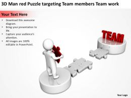 3D Man red Puzzle targeting Team members Team work Ppt Graphics Icons