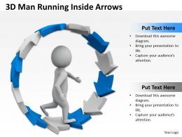 3D Man Running Inside Arrows Ppt Graphic Icon