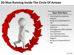 3D Man Running Inside The Circle Of Arrows Ppt Graphics Icons