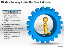 3D Man Running Inside The Gear Industrial Ppt Graphics Icons Powerpoint