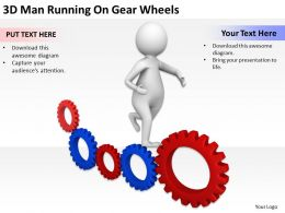 3D Man Running On Gear Wheels Ppt Graphics Icons Powerpoint