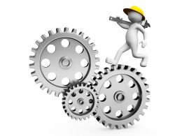 3d Man Running On Gears For Process Control Stock Photo
