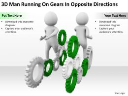 3D Man Running On Gears In Opposite Directions Ppt Graphics Icons Powerpoint