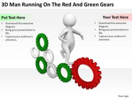 3D Man Running On The Red And Green Gears Ppt Graphics Icons Powerpoint