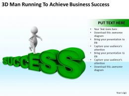 3D Man Running To Achieve Business Success Ppt Graphics Icons Powerpoint