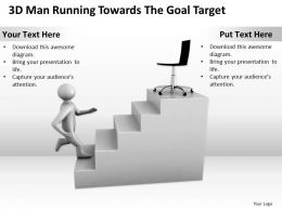 3D Man Running Towards the Goal Target Ppt Graphics Icons