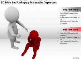 3D Man Sad Unhappy Miserable Depressed Ppt Graphics Icons