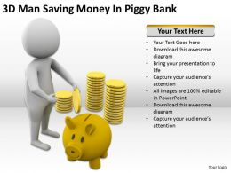 3D Man Saving Money In Piggy Bank Ppt Graphics Icons Powerpoint
