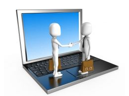 3D Man Shaking Hands Over Laptop Online Business Stock Photo