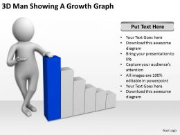 3D Man Showing A Growth Graph Ppt Graphics Icons Powerpoint